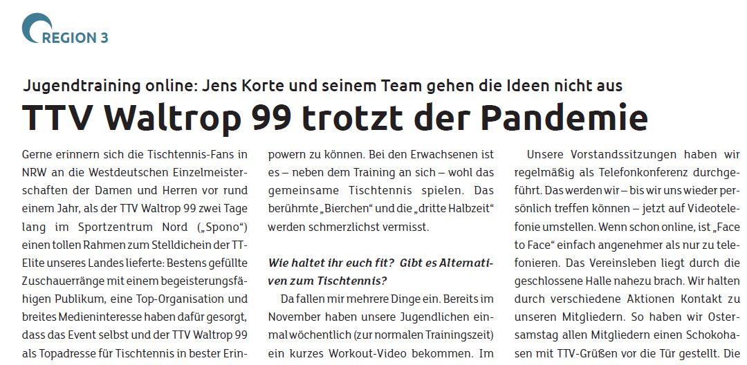 """Fachmagazin """"tischtennis"""" berichtet in der Februar-Ausgabe"""